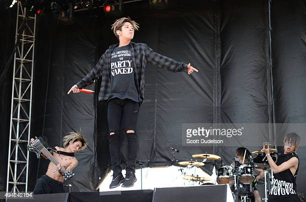 Singer Takahiro Moriuchi of One Ok Rock performs onstage at Gibson Ranch County Park on October 25 2015 in Sacramento California