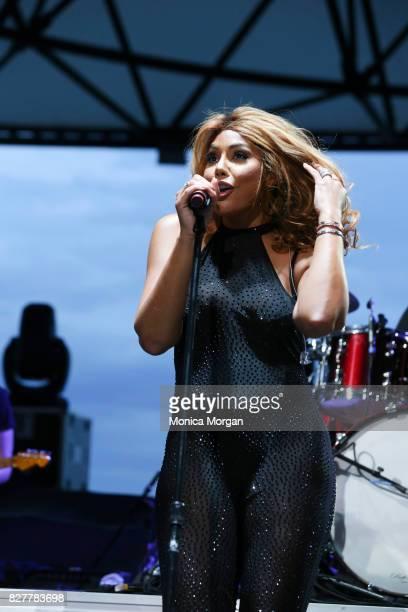 Singer Tamar Braxton performs at Chene Park on August 5 2017 in Detroit Michigan