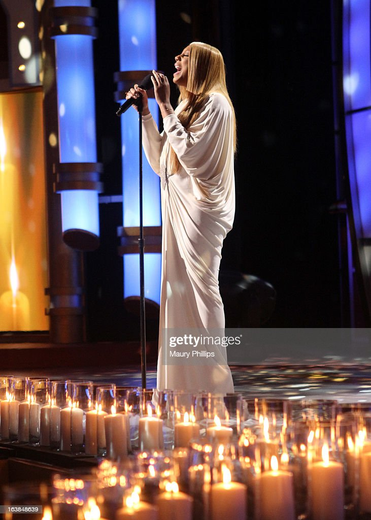 Singer Tamar Braxton performs onstage during the BET Celebration of Gospel 2013 at Orpheum Theatre on March 16, 2013 in Los Angeles, California.
