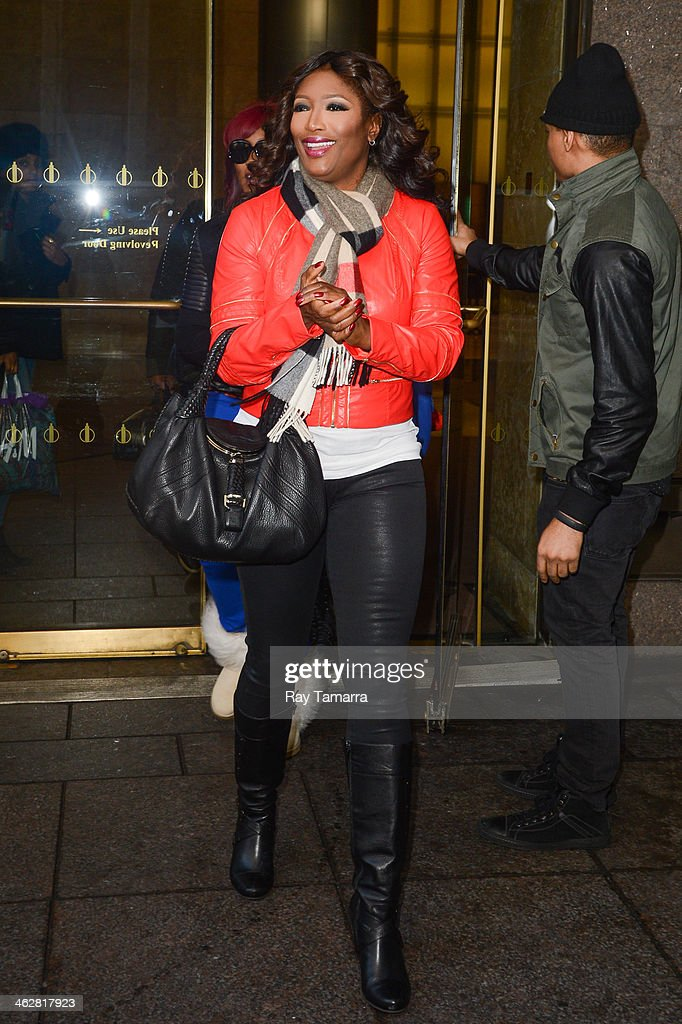 Singer Tamara 'Taj' Johnson-George, of SWV, enters the Sirius XM Studios on January 15, 2014 in New York City.