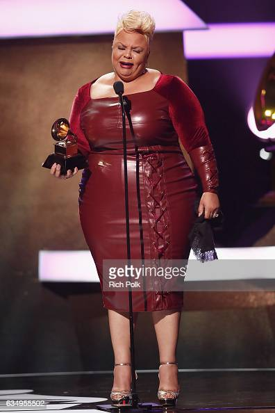 Singer Tamela Mann accepts the Best Gospel Performance/Song award for 'God Provides' onstage at the Premiere Ceremony during the 59th GRAMMY Awards...