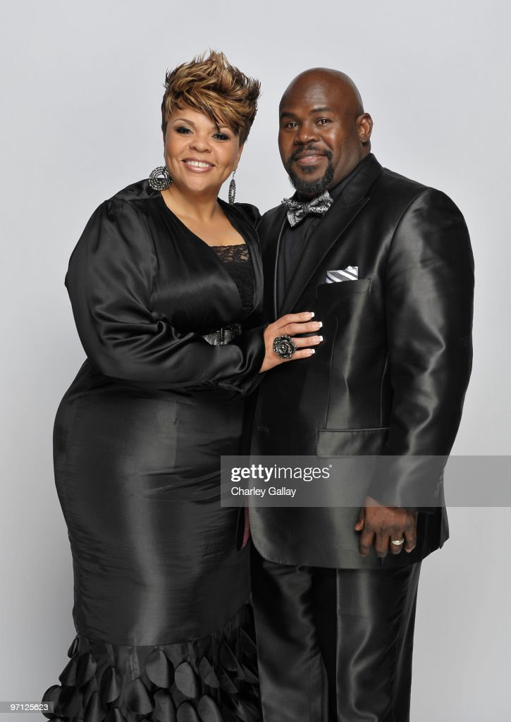 Singer Tamela Mann and husband David Mann pose for a portrait during the 41st NAACP Image awards held at The Shrine Auditorium on February 26, 2010 in Los Angeles, California.