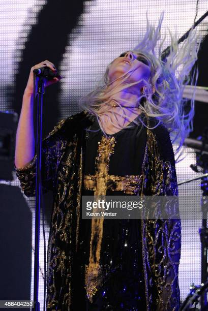 Singer Taylor Momsen of The Pretty Reckless performs onstage at the 2014 Revolver Golden Gods Awards at Club Nokia on April 23 2014 in Los Angeles...