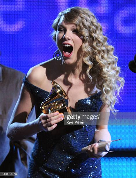 Singer Taylor Swift accepts the Album Of The Year award onstage during the 52nd Annual GRAMMY Awards held at Staples Center on January 31 2010 in Los...
