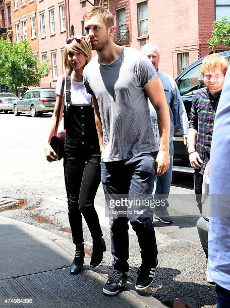 Singer Taylor Swift and Calvin Harris and Ed Sheeran are seen arriving at Spotted Pig in Soho on May 28 2015 in New York City