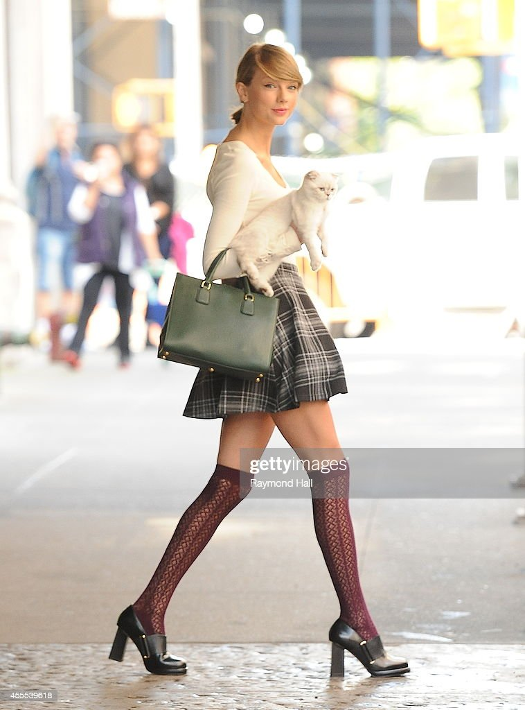 Singer Taylor Swift and Cat are seen in Soho on September 16, 2014 in New York City.