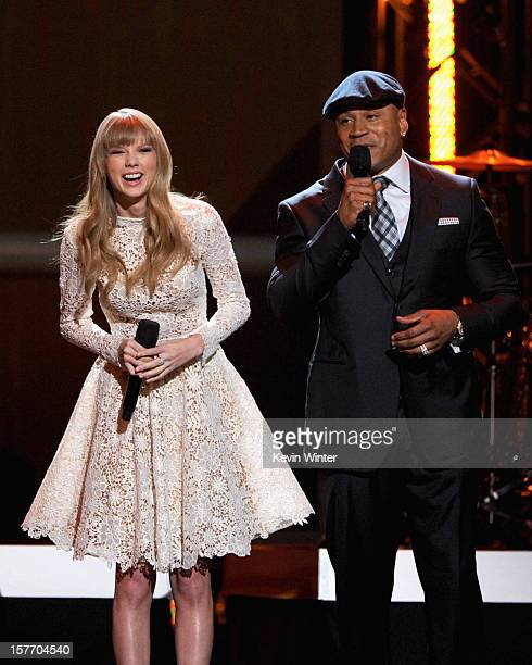 Singer Taylor Swift and rapper LL Cool J perform onstage at The GRAMMY Nominations Concert Live held at Bridgestone Arena on December 5 2012 in...