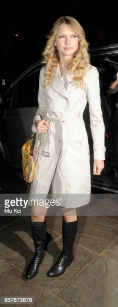 Singer Taylor Swift arrives at her hotel after attending the Automat bar in London