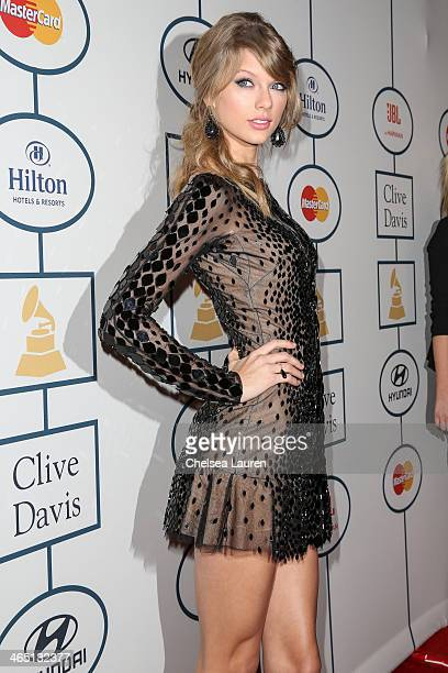 Singer Taylor Swift arrives at the 2014 HYUNDAI / GRAMMYs Clive Davis PreGRAMMY Gala Activation Equus Fleet Arrivals at The Beverly Hilton Hotel on...