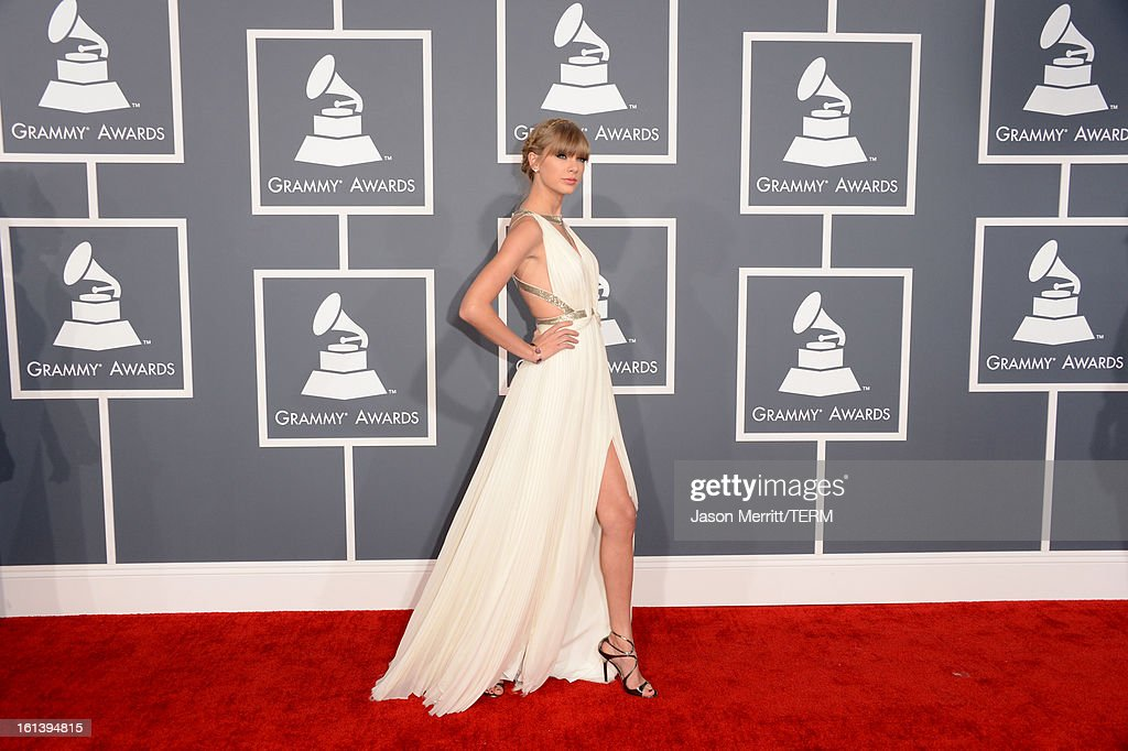 Singer Taylor Swift arrives at the 55th Annual GRAMMY Awards at Staples Center on February 10, 2013 in Los Angeles, California.