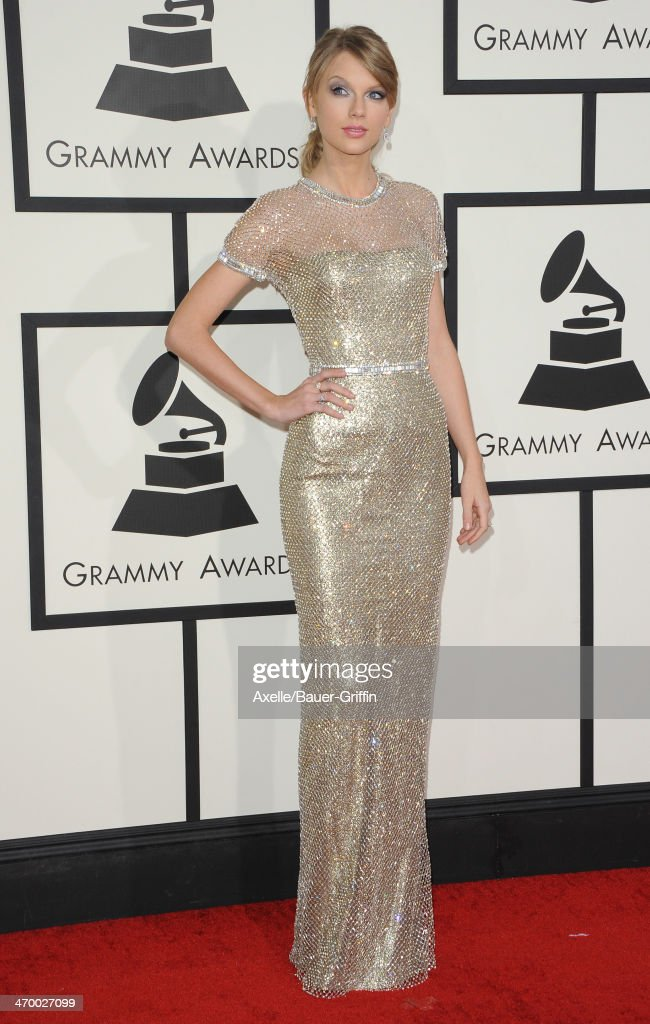Singer <a gi-track='captionPersonalityLinkClicked' href=/galleries/search?phrase=Taylor+Swift&family=editorial&specificpeople=619504 ng-click='$event.stopPropagation()'>Taylor Swift</a> arrives at the 56th GRAMMY Awards at Staples Center on January 26, 2014 in Los Angeles, California.