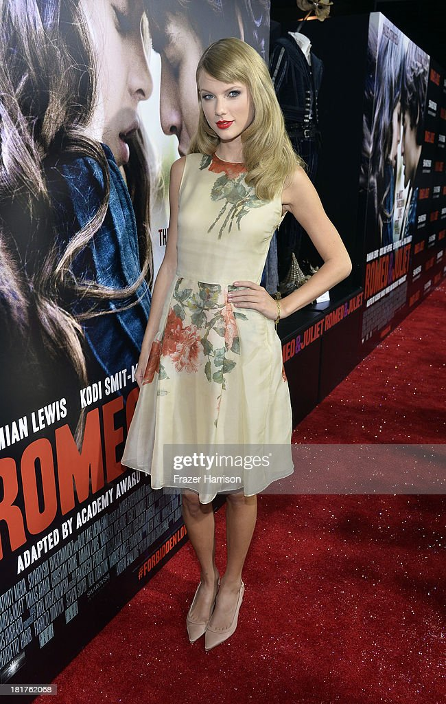 Singer <a gi-track='captionPersonalityLinkClicked' href=/galleries/search?phrase=Taylor+Swift&family=editorial&specificpeople=619504 ng-click='$event.stopPropagation()'>Taylor Swift</a> arrives at the premiere of Relativity Media's 'Romeo And Juliet' at ArcLight Cinemas on September 24, 2013 in Hollywood, California.