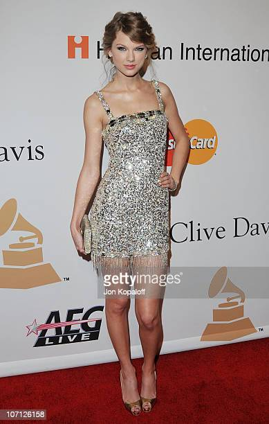 Singer Taylor Swift arrives at The Recording Academy's 2010 GRAMMY Salute To Icons Honoring Clive Davis at The Beverly Hilton Hotel on January 30...