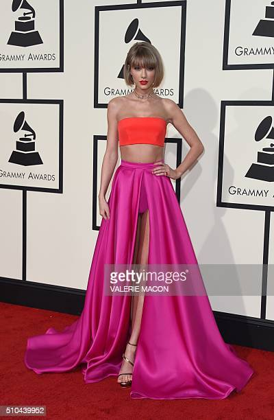Singer Taylor Swift arrives on the red carpet during the 58th Annual Grammy Music Awards in Los Angeles February 15 2016 AFP PHOTO/ Valerie MACON /...