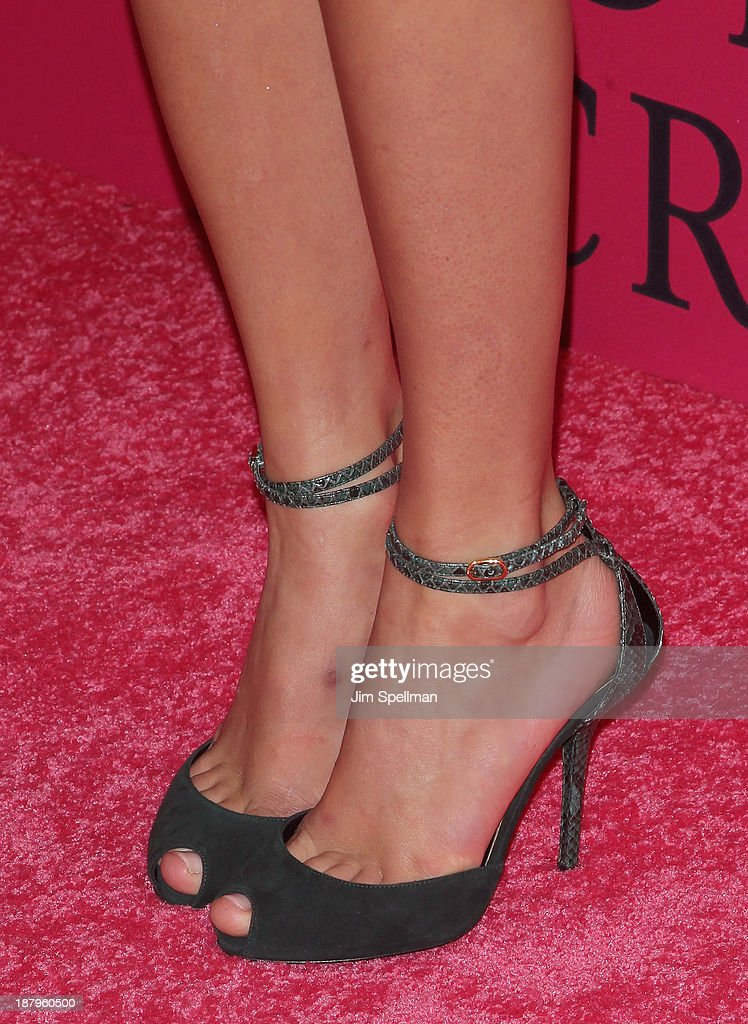 Singer Taylor Swift (shoe detail) attends the 2013 Victoria's Secret Fashion Show at Lexington Avenue Armory on November 13, 2013 in New York City.