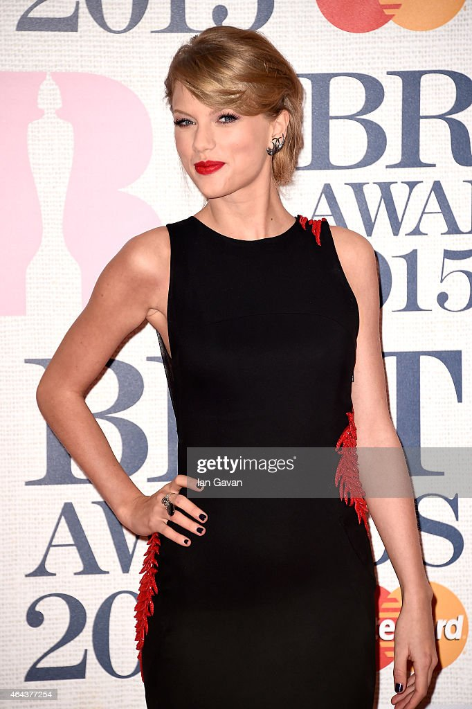 Singer <a gi-track='captionPersonalityLinkClicked' href=/galleries/search?phrase=Taylor+Swift&family=editorial&specificpeople=619504 ng-click='$event.stopPropagation()'>Taylor Swift</a> attends the BRIT Awards 2015 at The O2 Arena on February 25, 2015 in London, England.