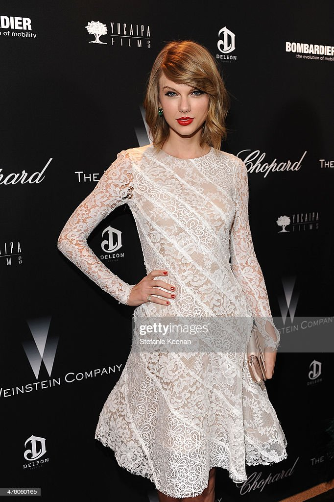 Singer taylor swift attends the weinstein company academy award party