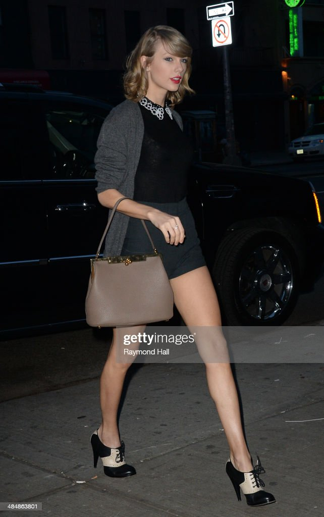 Singer <a gi-track='captionPersonalityLinkClicked' href=/galleries/search?phrase=Taylor+Swift&family=editorial&specificpeople=619504 ng-click='$event.stopPropagation()'>Taylor Swift</a> is seen in Soho on April 14, 2014 in New York City.