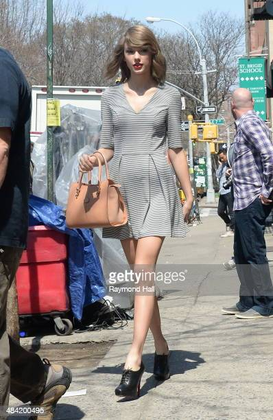 Singer Taylor Swift is seen on set of Ed Sheeran music video set ion April 11 2014 in New York City