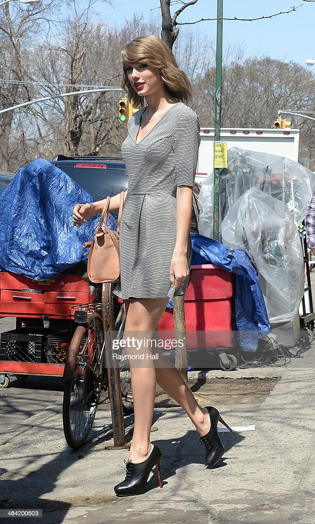 Singer Talyer Swift is seen on set of Ed Sheeran music video set ion April 11, 2014 in New York City.