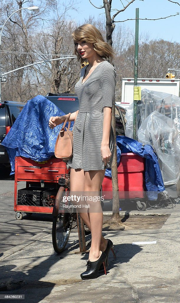 Singer Taylor Swift is seen on set of Ed Sheeran music video set ion April 11, 2014 in New York City