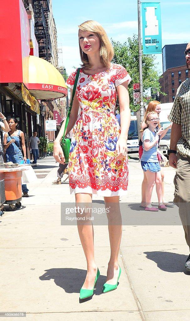 Singer Taylor Swift is seen walking in Soho on June 20 2014 in New York City