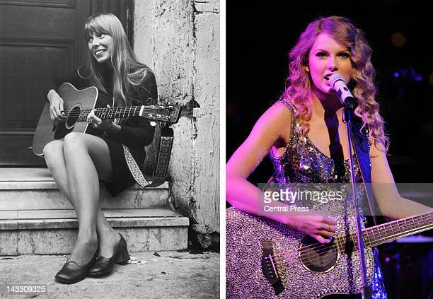 In this composite image a comparison has been made between Joni Mitchell and singer Taylor Swift Taylor Swift is reportedly in talks to play Joni...