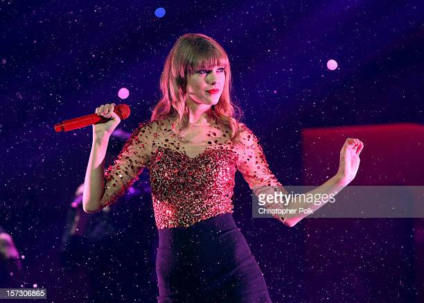 Singer Taylor Swift performs onstage during KIIS FM's 2012 Jingle Ball at Nokia Theatre LA Live on December 1 2012 in Los Angeles California