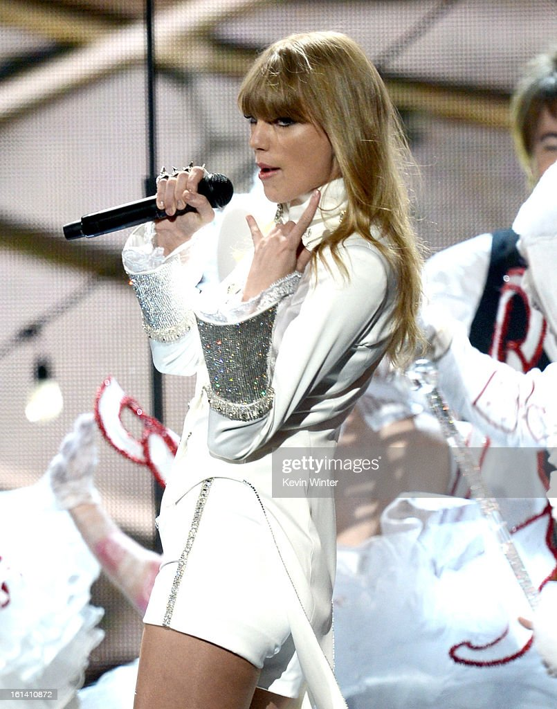 Singer Taylor Swift performs onstage during the 55th Annual GRAMMY Awards at STAPLES Center on February 10, 2013 in Los Angeles, California.