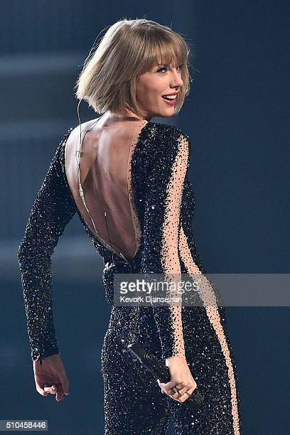 Singer Taylor Swift performs onstage during The 58th GRAMMY Awards at Staples Center on February 15 2016 in Los Angeles California