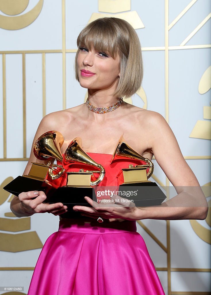 Singer <a gi-track='captionPersonalityLinkClicked' href=/galleries/search?phrase=Taylor+Swift&family=editorial&specificpeople=619504 ng-click='$event.stopPropagation()'>Taylor Swift</a>, winner of the awards for Album of the Year and Best Pop Album for '1989' and Best Music Video for 'Bad Blood,' poses in the press room during The 58th GRAMMY Awards at Staples Center on February 15, 2016 in Los Angeles, California.