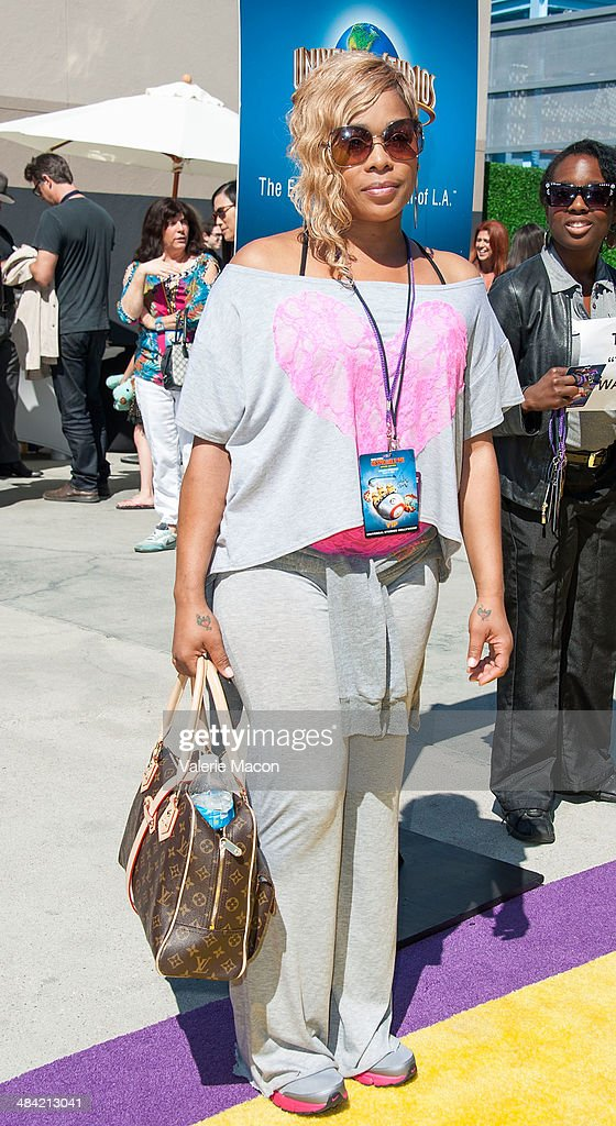 Singer T-Boz attends Universal Studios Hollywood Celebrates The Premiere Of New 3D Ultra HD digital Animation Adventure 'Despicable Me Minion Mayhem' at Universal Studios Hollywood on April 11, 2014 in Universal City, California.