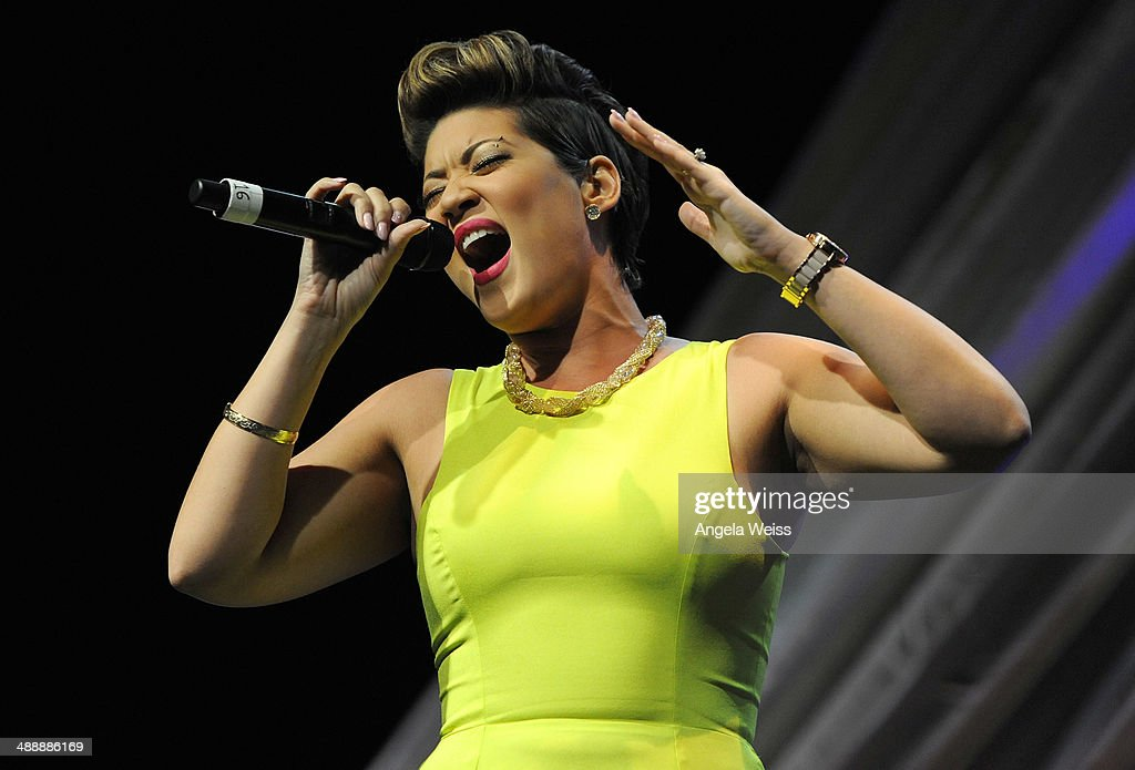 Singer Tessanne Chin performs at the AntiDefamation League entertainment industry dinner honoring Roma Downey and Mark Burnett at The Beverly Hilton...