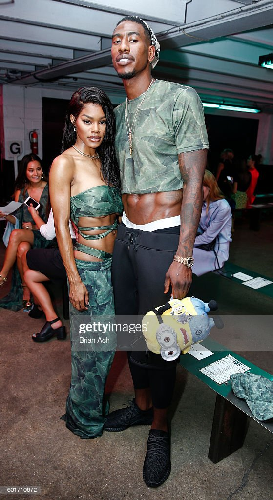 Singer Teyana Taylor and NBA star Iman Shumpert pose before the Baja East fashion show during New York Fashion Week September 2016 at 25 Beekman on September 9, 2016 in New York City.