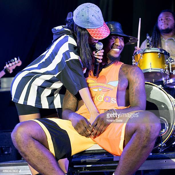 Singer Teyana Taylor performs with NBA player Iman Shumpert at Nikon at Jones Beach Theater on August 30 2015 in Wantagh New York