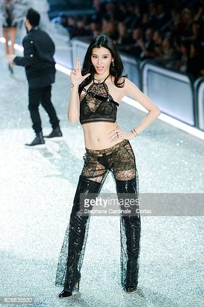 Singer The Weeknd and model Ming Xi on the runway for the 2016 Victoria's Secret fashion show at Le Grand Palais on November 30 2016 in Paris France