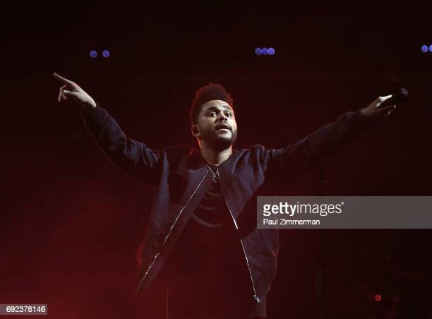 Singer The Weeknd performs onstage at The Weeknd Starboy Legend Of The Fall 2017 World Tour at the Prudential Center on June 4 2017 in Newark New...