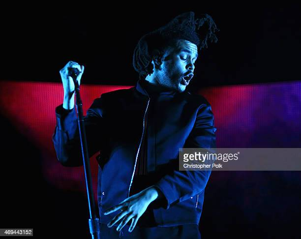 Singer The Weeknd performs onstage during day 2 of the 2015 Coachella Valley Music Arts Festival at the Empire Polo Club on April 11 2015 in Indio...
