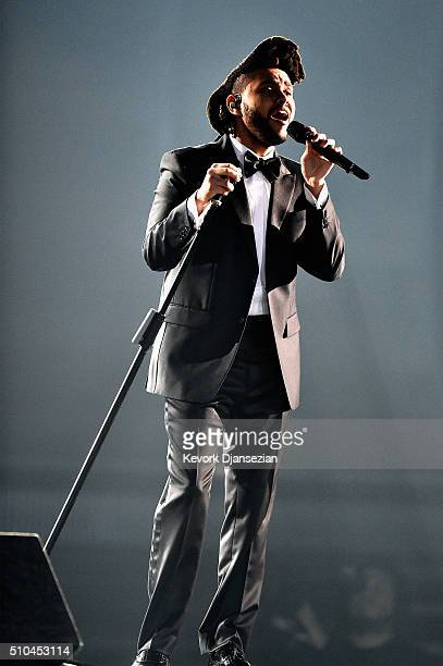 Singer The Weeknd performs onstage during The 58th GRAMMY Awards at Staples Center on February 15 2016 in Los Angeles California
