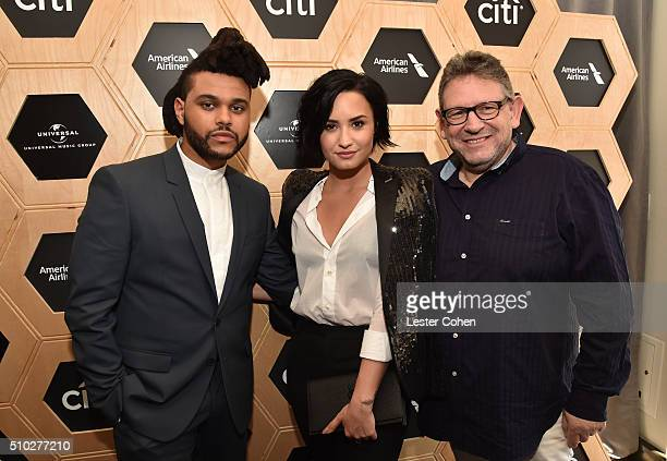 Singer The Weeknd singer Demi Lovato and CBE Chairman CEO UMG Lucian Grainge attend Lucian Grainge's 2016 Artist Showcase Presented by American...