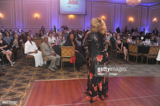 Singer Thea Austin and Jewel ThaisWilliams attend the Entertainment AIDS Alliance's Annual EAA Wine Wisdom Vision Event Benefiting Village Health...