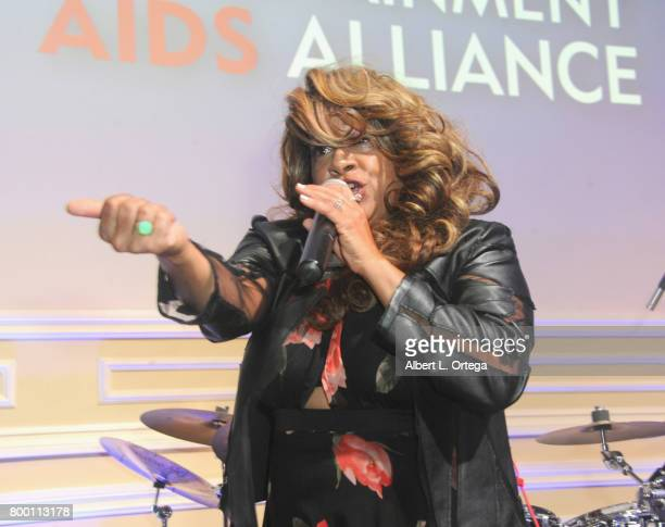 Singer Thea Austin attends the Entertainment AIDS Alliance's Annual EAA Wine Wisdom Vision Event Benefiting Village Health Foundation And UCLA CARE...