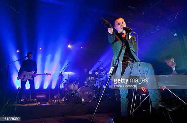 Singer Theo Hutchcraft of Hurts performs live during a concert at the Postbahnhof on February 9 2013 in Berlin Germany