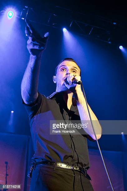 Singer Theo Hutchcraft of the British band Hurts performs live during a concert at the Tempodrom on March 15 2016 in Berlin Germany