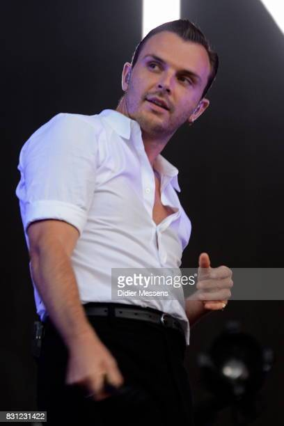 Singer Theo Hutchcraft of the British band Hurts performs live during a concert at Sziget festival on August 13 2017 in Budapest Hungary