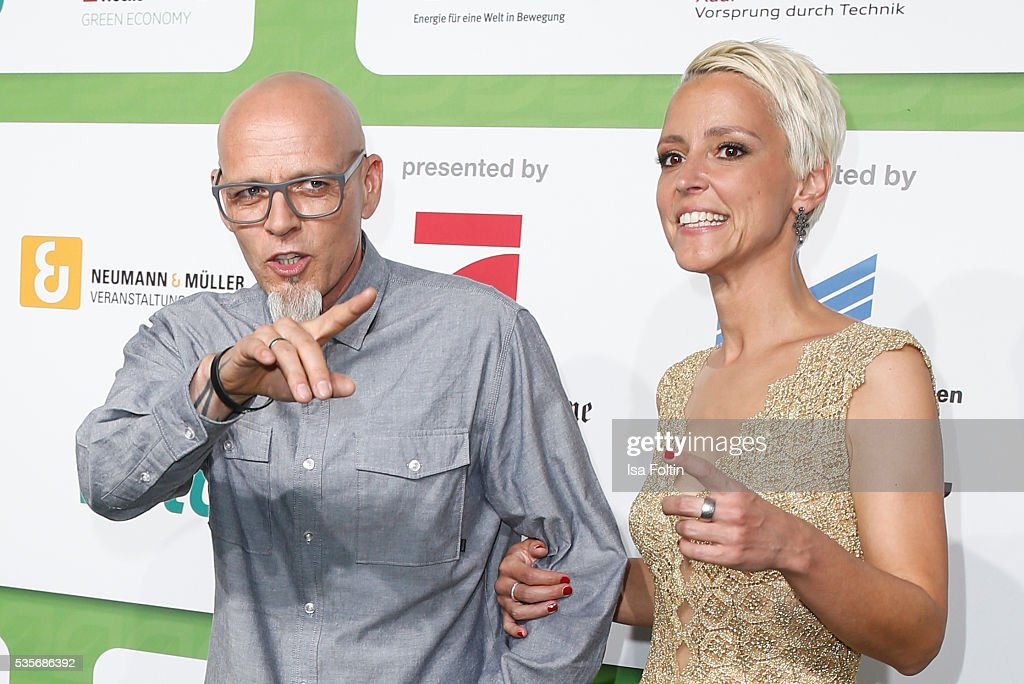 Singer Thomas Duerr alias Hausmeister Thomas D of the band 'Die Fantastischen Vier' and Alexia Osswald attend the Green Tec Award at ICM Munich on May 29, 2016 in Munich, Germany.