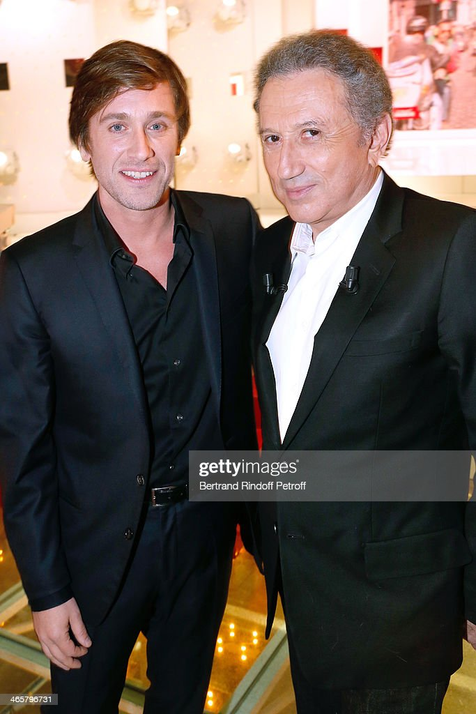 Singer Thomas Dutronc who presents his Concert 'Le soldat rose' and presenter of the show Michel drucker attend the 'Vivement Dimanche' French TV...
