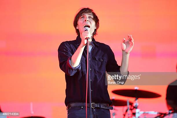 Singer Thomas Mars of Phoenix performs during day 1 of the 2014 Governors Ball Music Festival at Randall's Island on June 6 2014 in New York United...