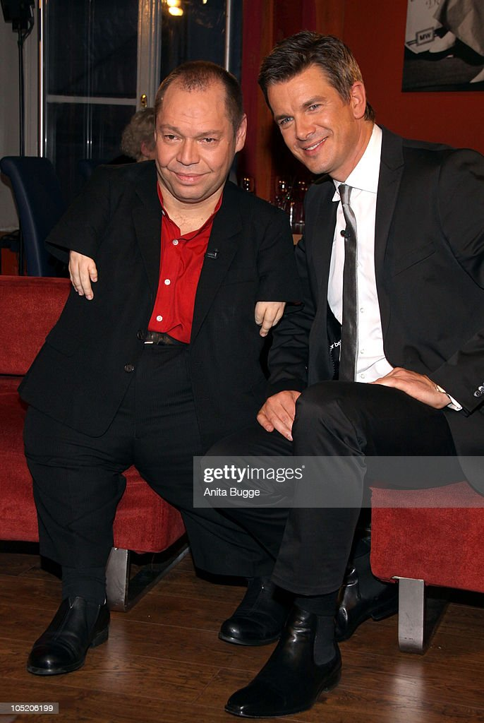 Singer Thomas Quasthoff (L) and host Markus Lanz attend the taping of the birthday show for Bassbaritone singer Thomas Quasthoff on October 15, 2009 in Berlin, Germany.