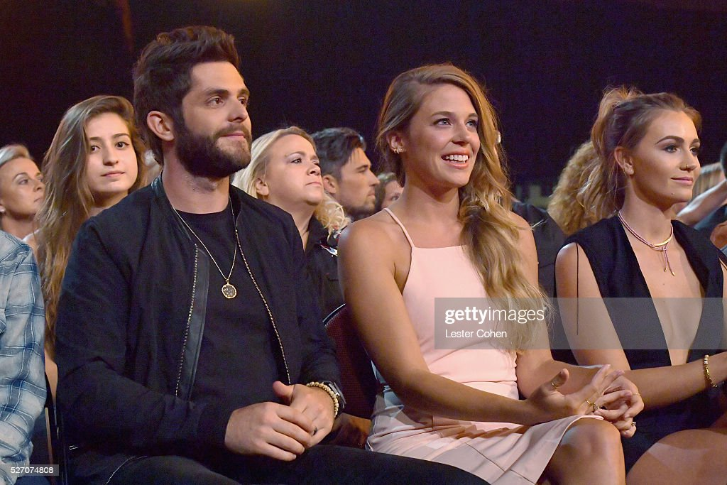 Singer <a gi-track='captionPersonalityLinkClicked' href=/galleries/search?phrase=Thomas+Rhett&family=editorial&specificpeople=9092574 ng-click='$event.stopPropagation()'>Thomas Rhett</a> (L) and Lauren Gregory attend the 2016 American Country Countdown Awards at The Forum on May 1, 2016 in Inglewood, California.